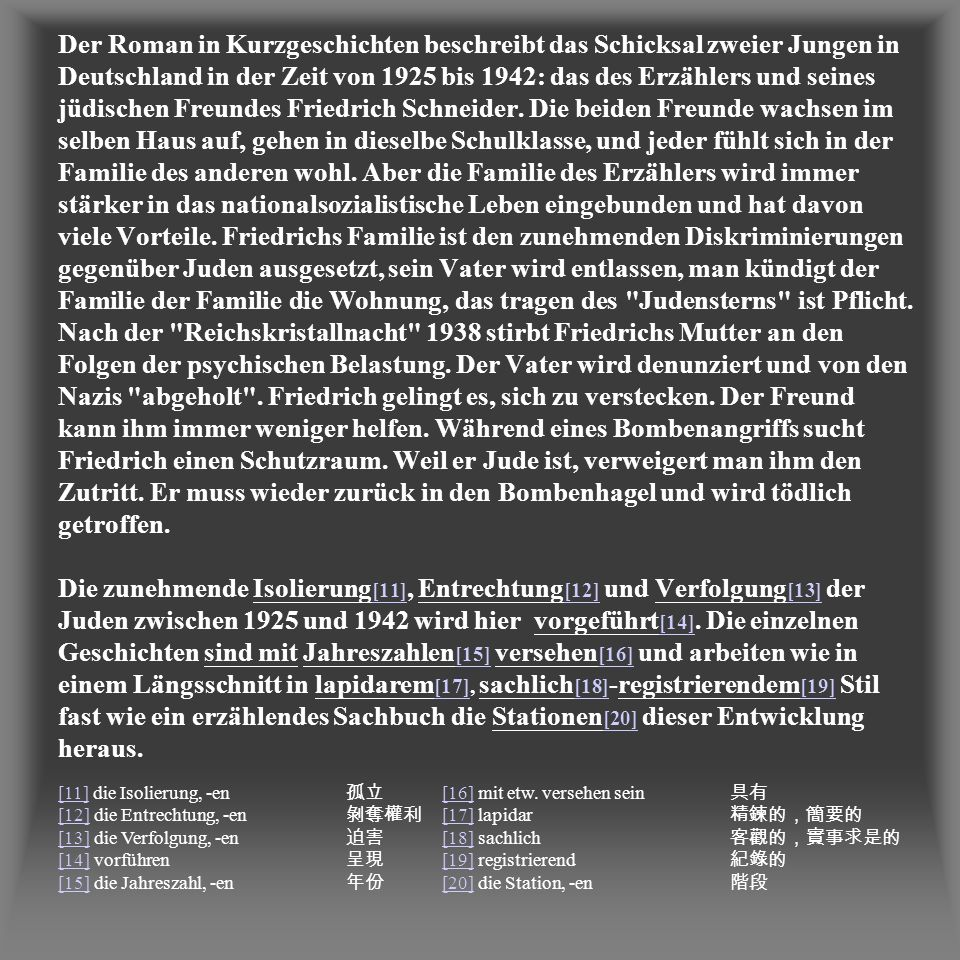 Der Roman in Kurzgeschichten beschreibt das Schicksal zweier Jungen in Deutschland in der Zeit von 1925 bis 1942: das des Erzählers und seines jüdischen Freundes Friedrich Schneider. Die beiden Freunde wachsen im selben Haus auf, gehen in dieselbe Schulklasse, und jeder fühlt sich in der Familie des anderen wohl. Aber die Familie des Erzählers wird immer stärker in das nationalsozialistische Leben eingebunden und hat davon viele Vorteile. Friedrichs Familie ist den zunehmenden Diskriminierungen gegenüber Juden ausgesetzt, sein Vater wird entlassen, man kündigt der Familie der Familie die Wohnung, das tragen des Judensterns ist Pflicht. Nach der Reichskristallnacht 1938 stirbt Friedrichs Mutter an den Folgen der psychischen Belastung. Der Vater wird denunziert und von den Nazis abgeholt . Friedrich gelingt es, sich zu verstecken. Der Freund kann ihm immer weniger helfen. Während eines Bombenangriffs sucht Friedrich einen Schutzraum. Weil er Jude ist, verweigert man ihm den Zutritt. Er muss wieder zurück in den Bombenhagel und wird tödlich getroffen. Die zunehmende Isolierung[11], Entrechtung[12] und Verfolgung[13] der Juden zwischen 1925 und 1942 wird hier vorgeführt[14]. Die einzelnen Geschichten sind mit Jahreszahlen[15] versehen[16] und arbeiten wie in einem Längsschnitt in lapidarem[17], sachlich[18]-registrierendem[19] Stil fast wie ein erzählendes Sachbuch die Stationen[20] dieser Entwicklung heraus.